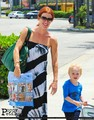Poppy Montgomery arrives LAX airport with her son, Jackson (7/9/11) - poppy-montgomery photo