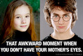 That Awkward Moment When You Don't Have Your Mother's Eyes - harry-james-potter fan art
