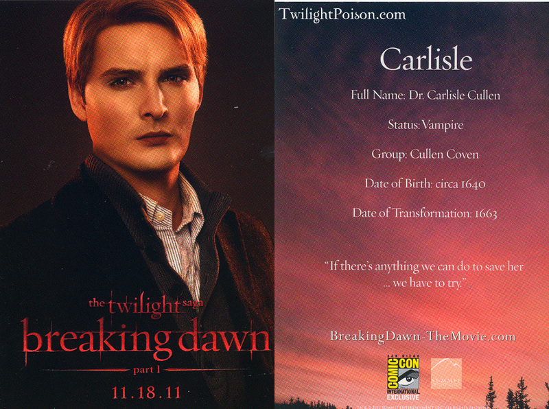 Three new 'Breaking Dawn' Comic-Con promo character cards revealed - twilight-series photo
