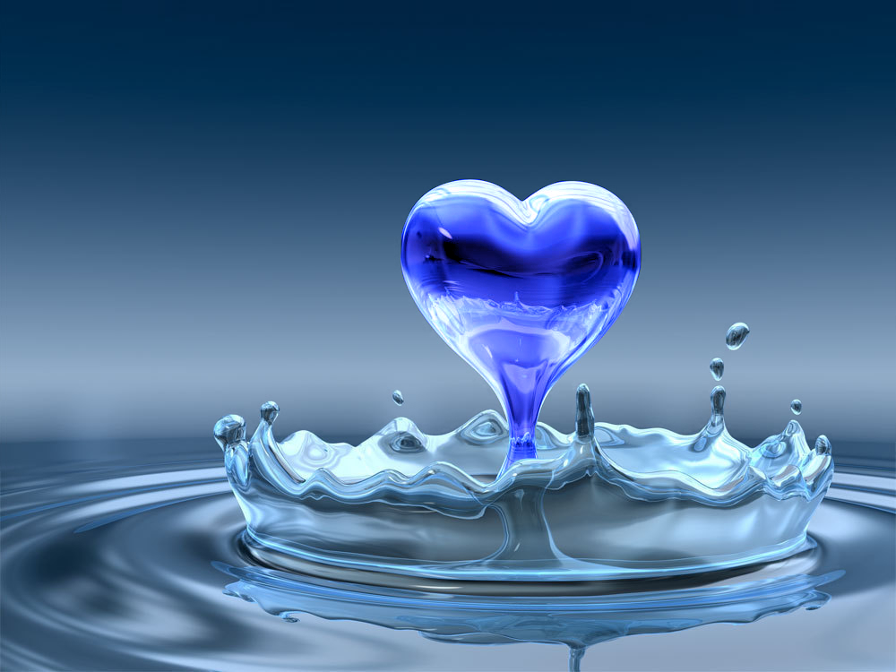 hearts images water blue heart hd wallpaper and background photos