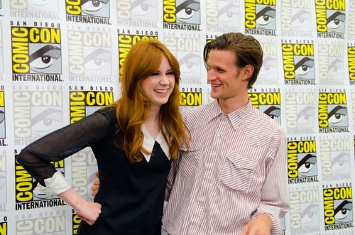 Matt Smith & Karen Gillan wallpaper containing a well dressed person called matt and karen at comic con