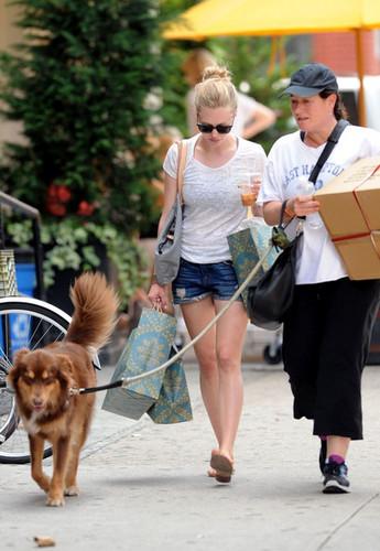 Amanda Seyfried shops downtown Manhattan with dog, Finn, and a friend.