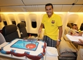 Birthday cake on plane