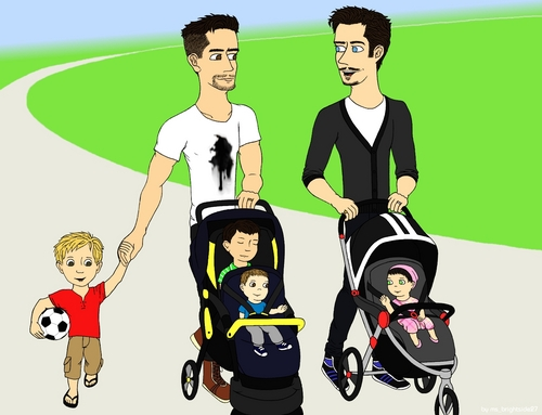 Brandon and Rufus in the park with their kids