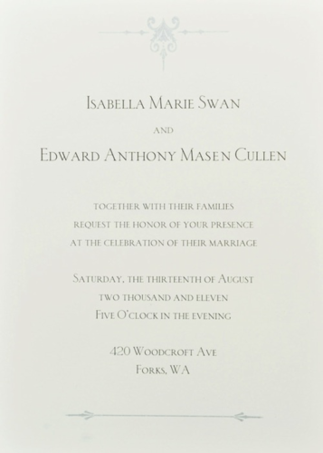 Harry Potter Vs. Twilight wolpeyper titled Breaknig Dawn wedding invitation