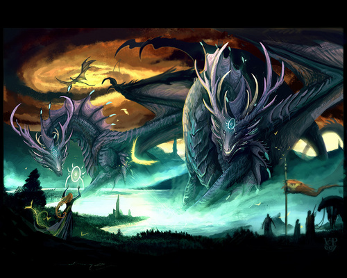 Dragons wallpaper containing anime entitled Dragon with Witch