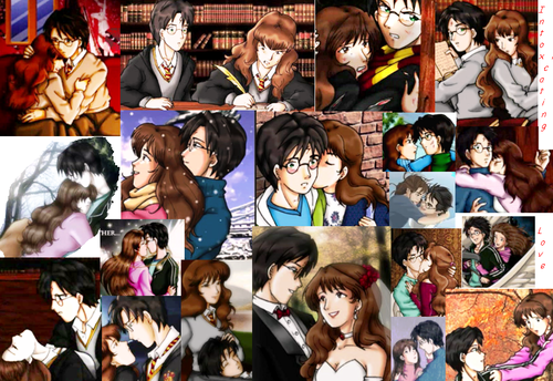 Harry and Hermione wallpaper possibly containing anime called Haary-Hermione intoxicating love