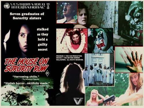 Horror films achtergrond with anime called House on Sorority Row