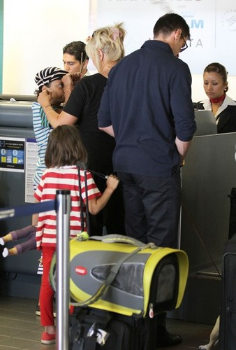 Hugh Jackman & Family Catching Flight At LAX Airport