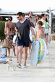 Hugh Jackman and Family at the Beach in St. Tropez