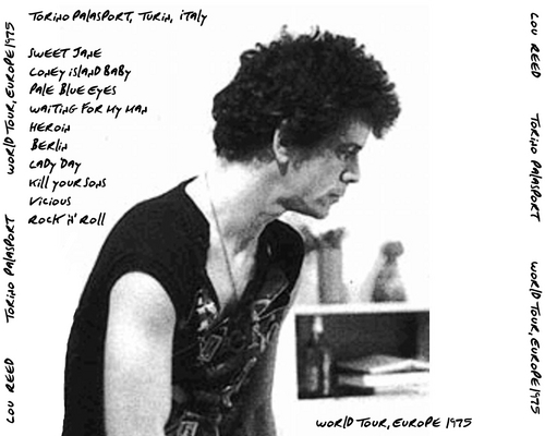 Lou Reed wallpaper probably containing a newspaper and a portrait called Lou Reed - Live in Italy (back cover)