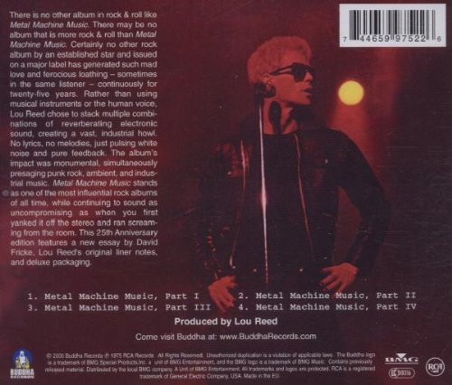 Metal Machine Muzik - Back Cover
