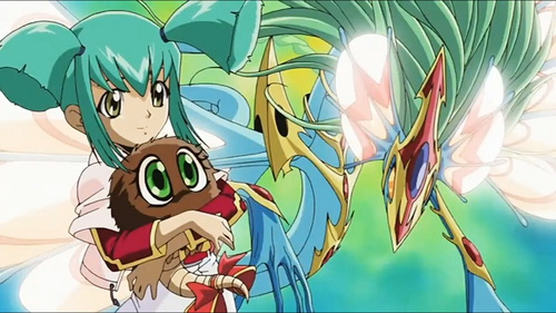 Luna from Yu-Gi-Oh! 5Ds wallpaper possibly with animê titled Luna with Ancient Fairy Dragon and Kuribon