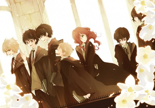 Harry Potter Anime wallpaper with a bouquet, a begonia, and a rose called Marauders