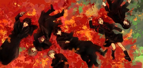 Harry Potter anime achtergrond possibly with a mountain laurel, a red maple, and a french goudsbloem titled Marauders