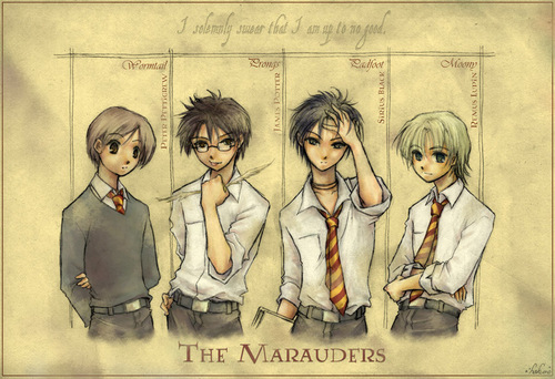 ハリーポッター・アニメ 壁紙 probably with a newspaper and アニメ called Marauders