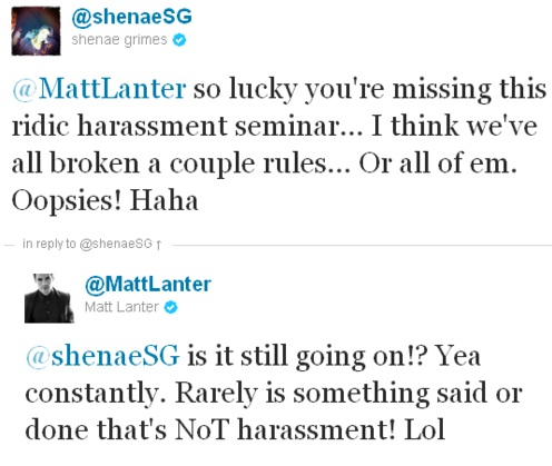 Matt and Shenae twitting each other