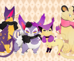 Purugly,Liepard,Delcatty,and Persian