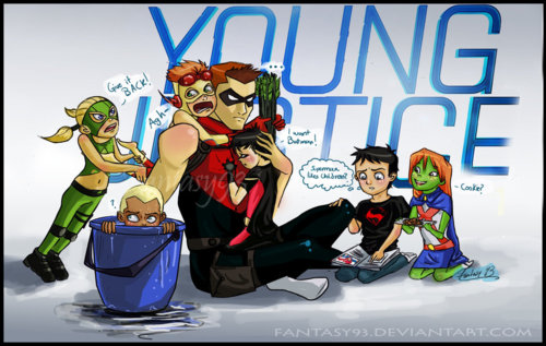 Young Justice Hintergrund with Anime entitled Red Arrow got stuck babysitting...