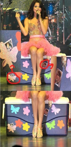 Selena is sitting on a box with stickers of Justin!