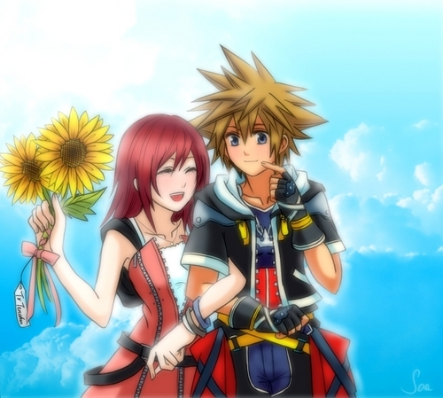 Kingdom Hearts wallpaper probably containing anime called Sora x Kairi
