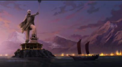 Statue of Aang in United Republic's harbor