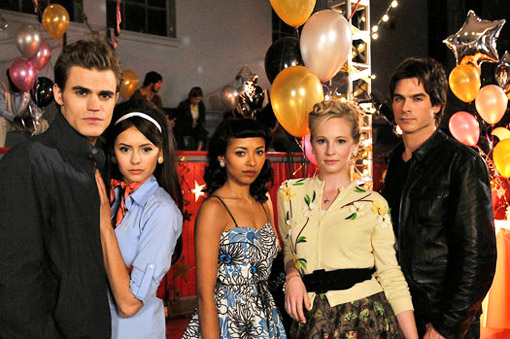 The Vampire Diaries TV Show Stefan-Elena-Bonie-Caroline-Damon