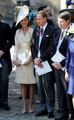 The Duke and Duchess of Cambridge leave the Canongate Kirk on Edinburgh's historic Royal Mile