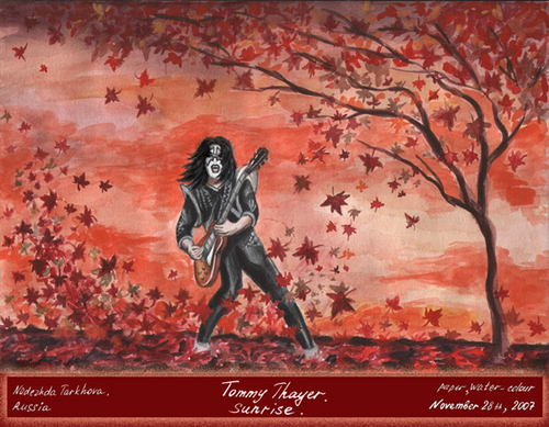 baciare Guitarists wallpaper probably with Anime titled Tommy Thayer Sunrise