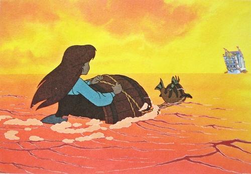 Walt ডিজনি Production Cels - Princess Ariel & রাঘববোয়াল