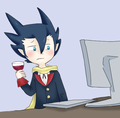 What is Grimsley looking at on the computer? - unova-elite-four fan art