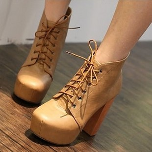 Lace Up Wedge Heels - Qu Heel