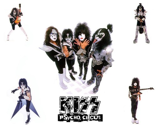 KISS wallpaper probably with a ski resort and an ice hockey titled kiss-psycho circus