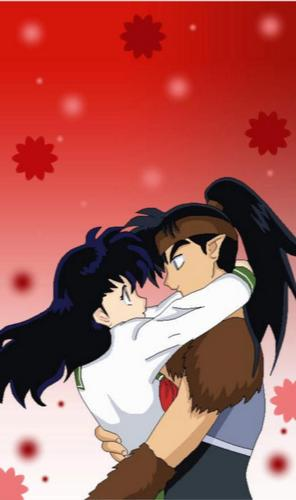 koga and kagome fondo de pantalla probably containing anime entitled koga's choice