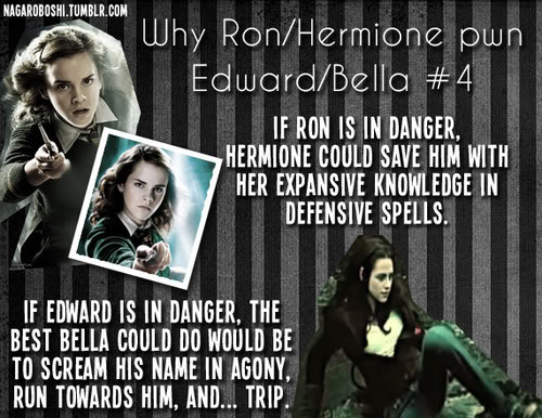 해리 포터 대 트와일라잇 바탕화면 probably containing a sign and 아니메 entitled why Ron/Hermione pwn Bella/Edward