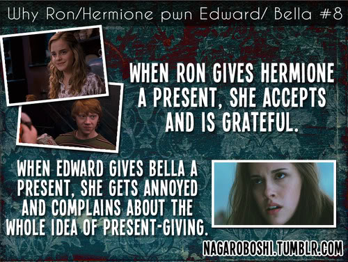 Harry Potter Vs. Twilight wallpaper entitled why Ron/Hermione pwn Bella/Edward
