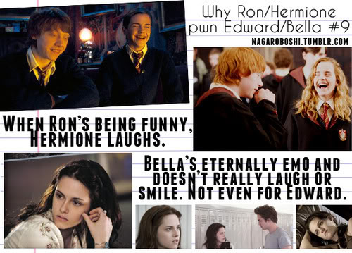 해리 포터 대 트와일라잇 바탕화면 possibly with a business suit, a newspaper, and a sign entitled why Ron/Hermione pwn Bella/Edward