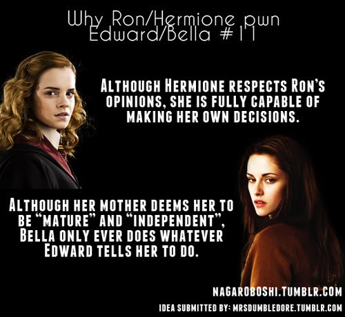 Harry Potter vs Twilight fond d'écran possibly with a portrait and animé entitled why Ron/Hermione pwn Bella/Edward