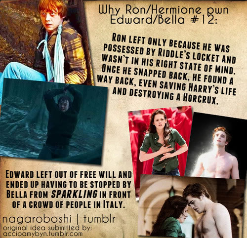 Harry Potter Vs. Twilight wallpaper with a newspaper, a sign, and anime entitled why Ron/Hermione pwn Bella/Edward