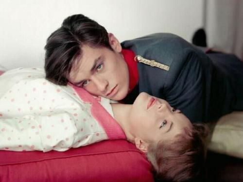 Alain Delon wallpaper possibly with a neonate and skin entitled Alain Delon and Romy Schneider