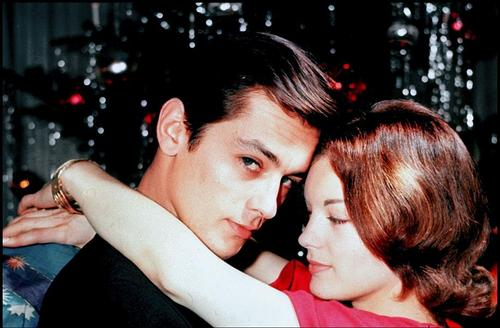 Alain Delon wallpaper probably with a portrait called Alain Delon and Romy Schneider