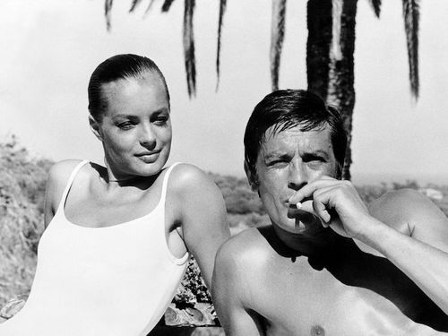 Alain Delon achtergrond probably containing skin called Alain Delon and Romy Schneider