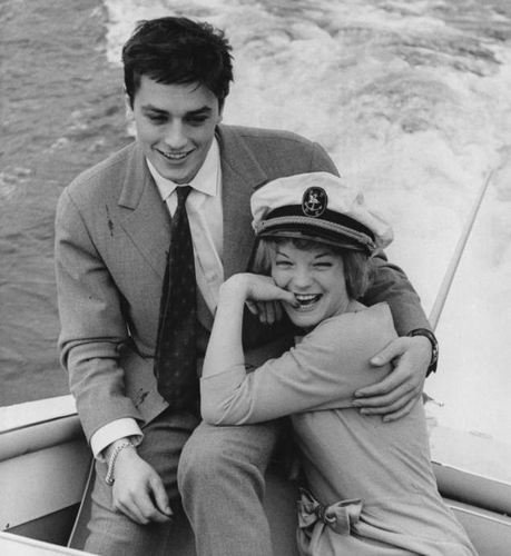 Alain Delon kertas dinding containing a business suit and a suit titled Alain Delon and Romy Schneider