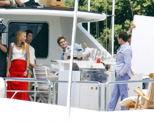 Blake Lively, Chace Crawford and Ed Westwick filming Gossip Girl in a yacht in Long Beach, CA