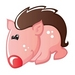 Cartoon animal avatar - pink-color icon