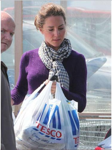 Catherine shopping at Tesco today.