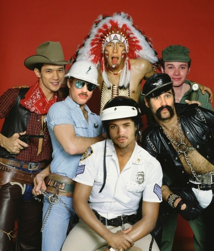 "Cory, Chris & the glee Boys as ""The Village People"""