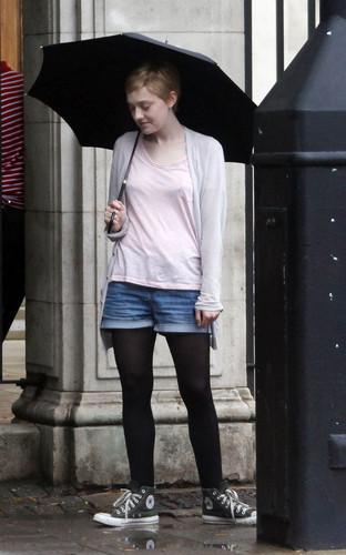 "Dakota Fanning and Jeremy Irvine film ""Now Is Good"" in London, Aug 4"