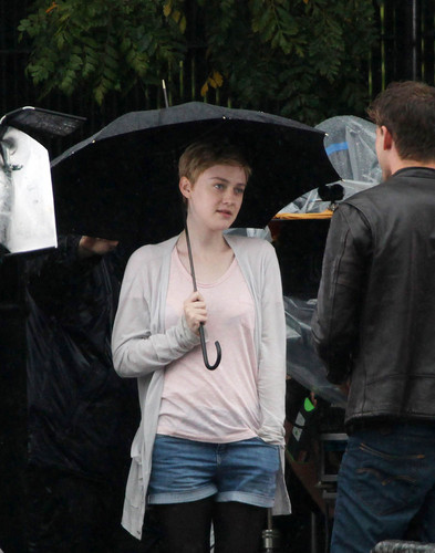 "Dakota Fanning and Jeremy Irvine film ""Now Is Good"" in London, Aug 4"