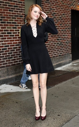 "Emma Stone arriving for her appearance on the ""Late Show with David Letterman"" (August 3)."
